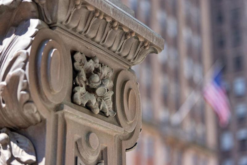The acorn motif even adorns the streetlamps