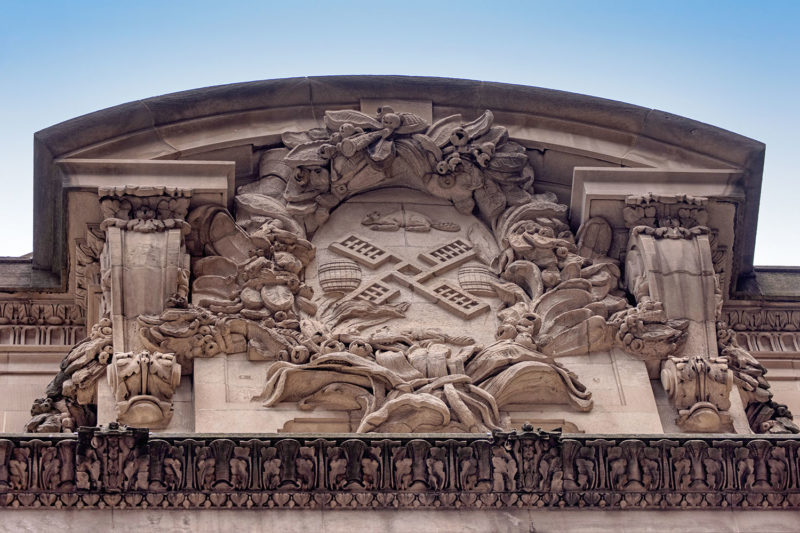A portion of the seal of the city of New York on the right side of Grand Central's facade