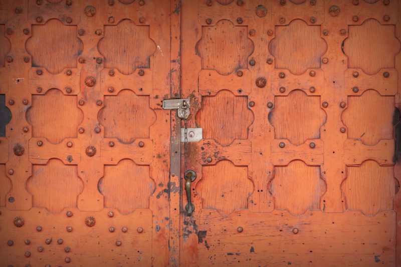 Locked doors to the old Waterbury Union Station