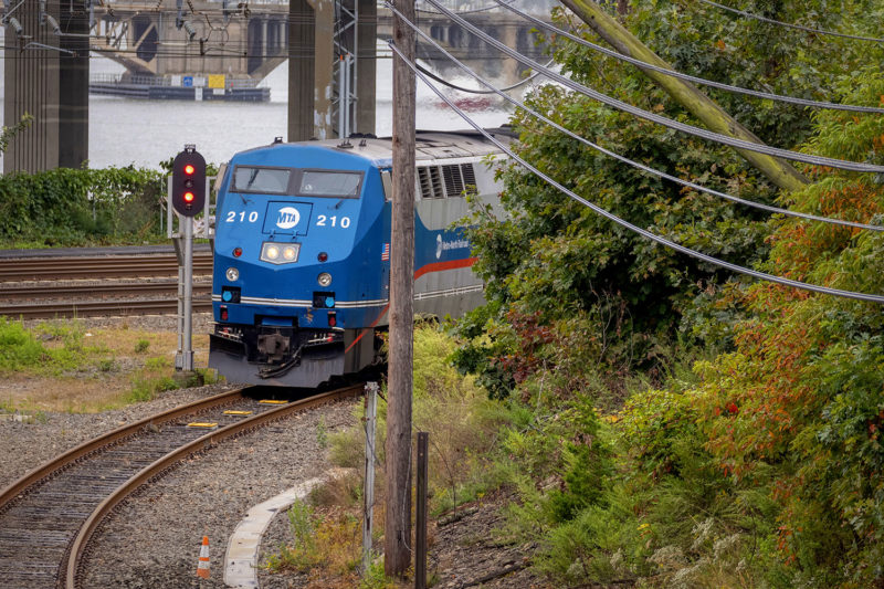 A Sunday afternoon train splits from the New Haven Line to join the Waterbury Branch